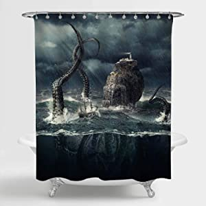 "MitoVilla Sailboat Encountered Disguised Octopus Kraken Shower Curtain, Fierce Battle at Stormy Ocean Artwork Bathroom Accessories for Nautical Home Decor, Octopus Gifts for Men, Boys, 72"" W x 72"" L"
