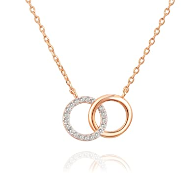 8641a789618ca 14K Gold Plated Mother Daughter Necklace Two Interlocking Circles Infinity  Necklace - 18