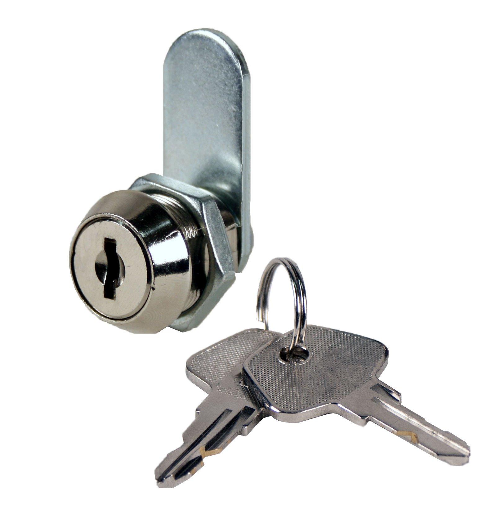 FJM Security 3403AS-KA High Security Disc Tumbler Cam Lock with 5/8'' Cylinder and Chrome Finish, Keyed Alike