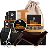 MayBeau Beard Grooming Kit for Men-Contains Unscented Beard Balm Beard Oil Beard Comb Beard Brush Scissors Shape Tool and Canvas Bag Perfect Present for Dad Husband
