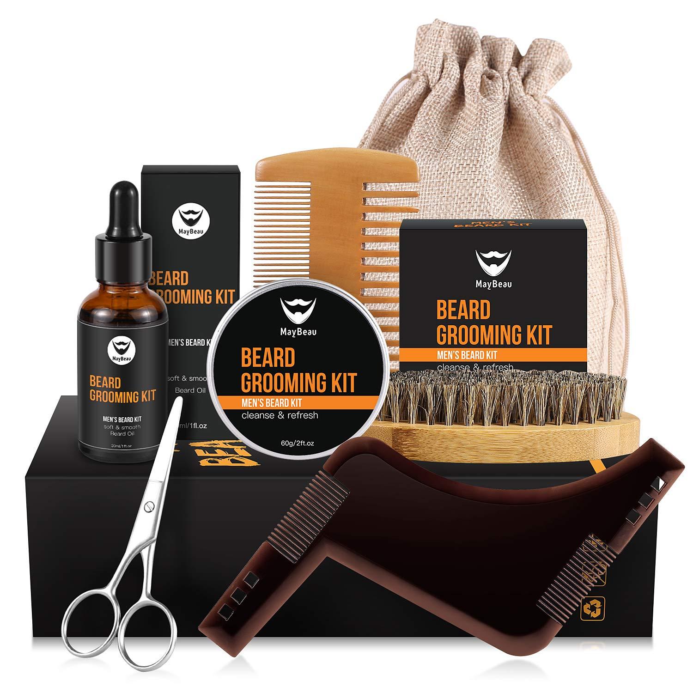 Maybeau Baume à barbe kit huile à barbe soins de barbe -crème à barbe 60g,30ml huile de barbe, peigne à barbe en bois,ciseaux à moustache,pinceau à barbe, outil de forme,sac pour homme,père product image