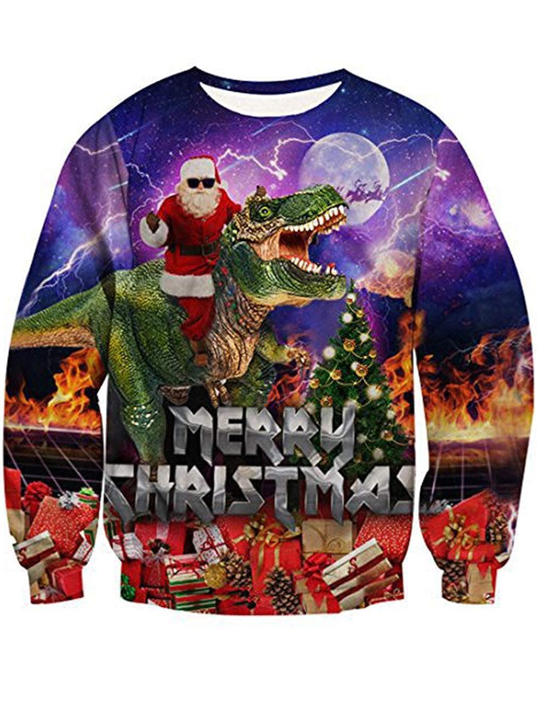 09cefed10fd Siennaa Pull Noël Homme Moche Imprimé Créatif Drôle Dinosaure Unisexe Femme  Sweat-Shirt Col Rond Pull ...