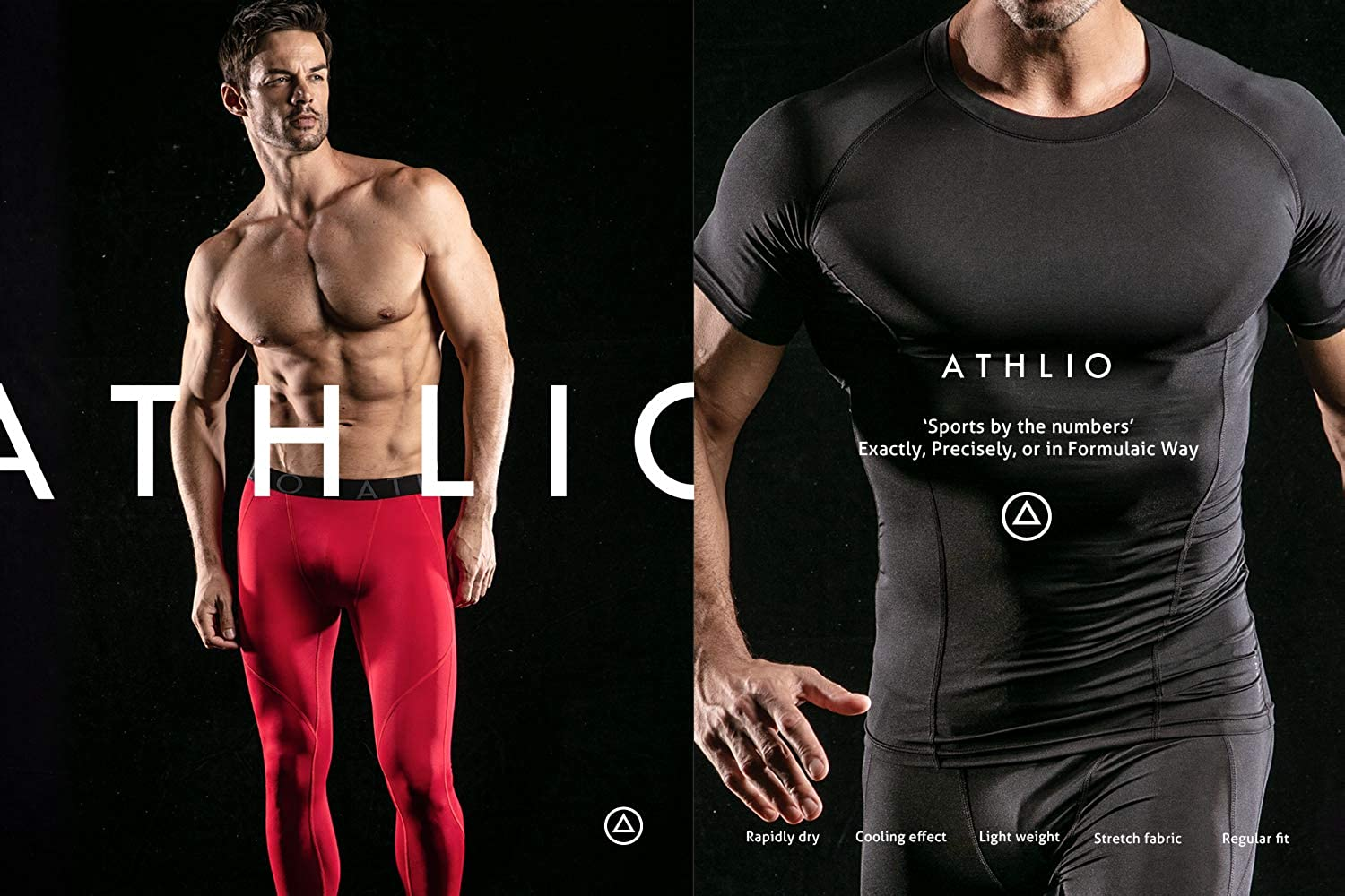 Cool Dry Compression Short Sleeve Sports Baselayer T-Shirts Tops ATHLIO Mens Pack of 1 or 3