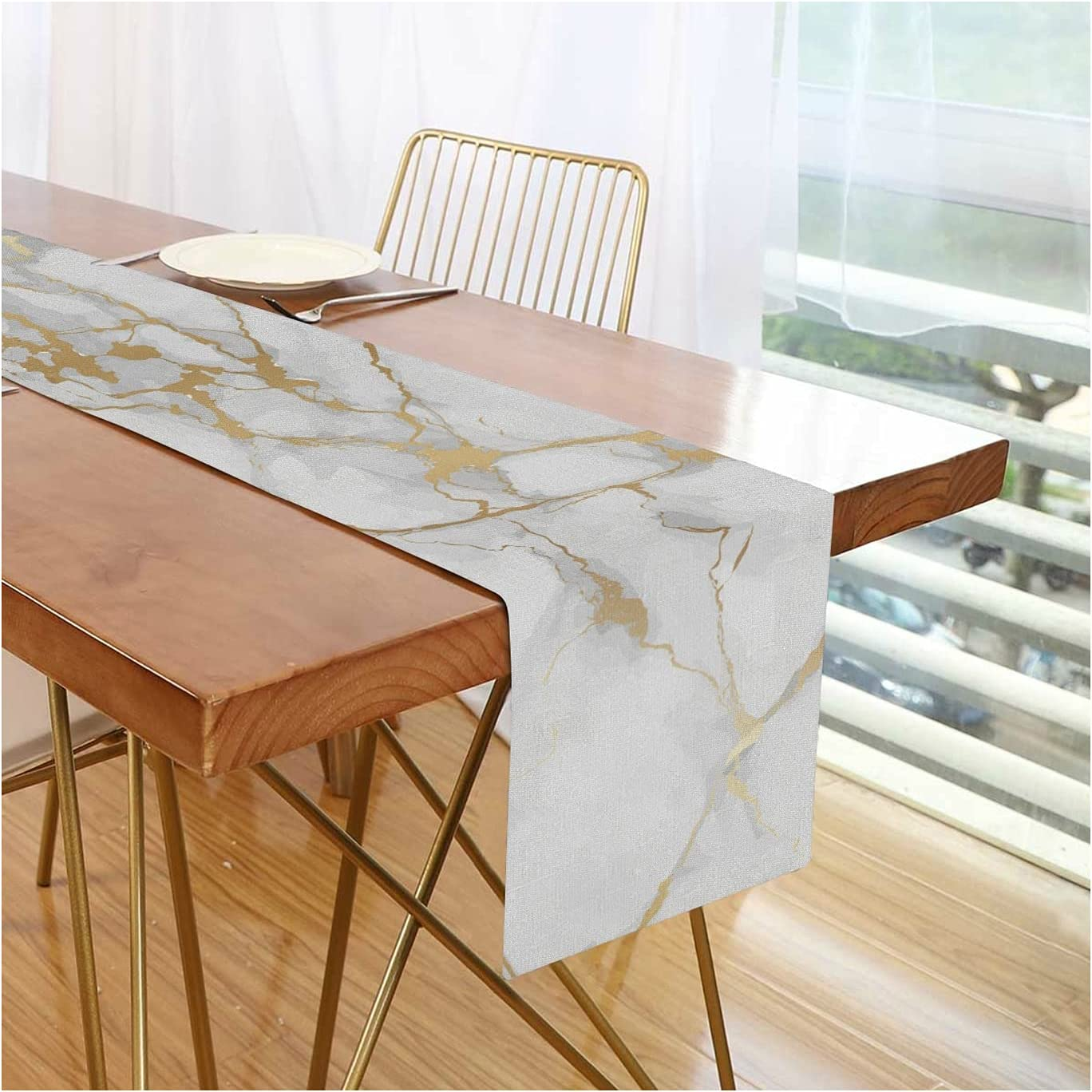 Velivn Gold Marble Pattern Table Runner 70 inches Long, Nature Flax Non-Slip Rectangle Table Setting Decor for Farmhouse Dinner, Holiday Parties, Wedding, Events
