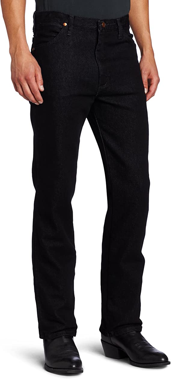 Wrangler Men's Western Slim Fit Boot Cut Jean, Black Stretch, 36x36 at Amazon Men's Clothing store
