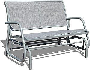 GOLDSUN 2 Person Swing Glider Chair Patio Swing Bench Garden Rocking Seat for Outdoor Patio,Backyard,Deck Swimming Pool(Gray)