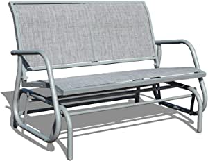 GOLDSUN 2 Person Swing Glider Chair Patio Swing Bench Garden Rocking Seat for Outdoor Patio,Backyard,Deck Swimming Pool(Gray)