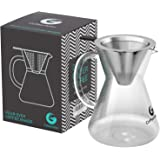 Coffee Gator Cafetera de goteo Pour Over (Medio, Estándar) manual con filtro de café permanente de acero inoxidable y jarra.