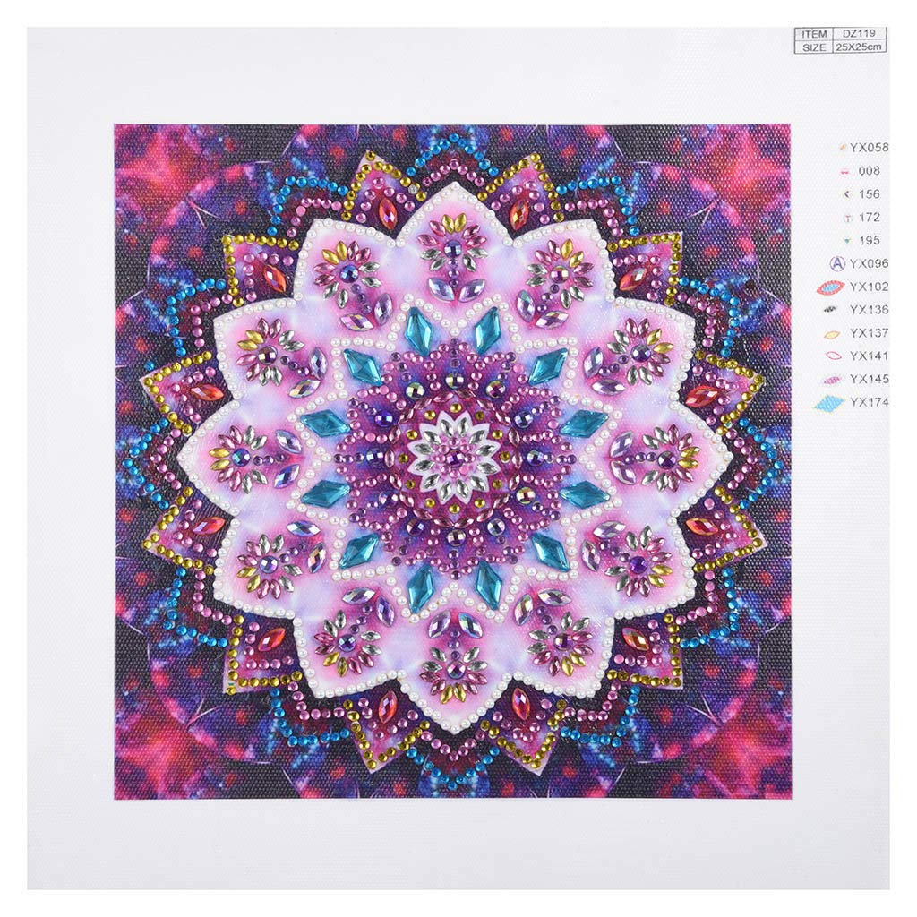 vmree Special-Shaped Partial Drill Rhinestone Embroidery Painting Crystals Pasted Handcraft Cross Stitch Handiwork Kits Visual Home Decor Mandalas - 04, 9.8/×9.8 DIY 5D Diamond Picture
