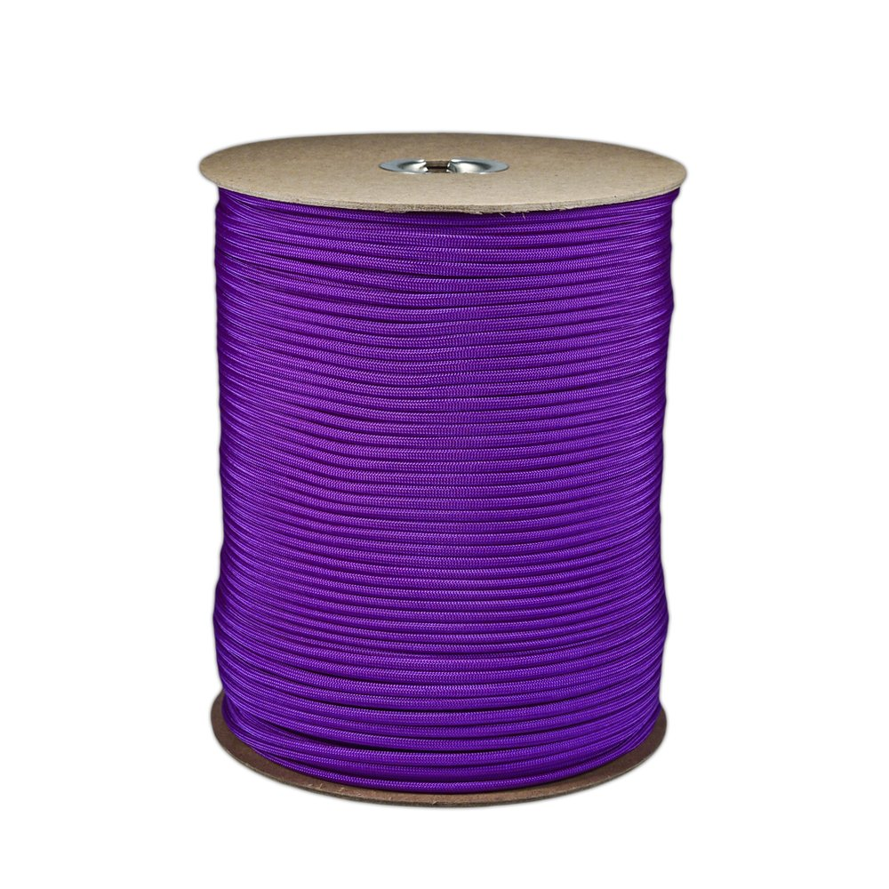 Paracord Planet Brand Nylon 550lb Type III Commercial Grade 7 Strand Paracord Made in USA 1000 Ft Spools (Acid Purple)
