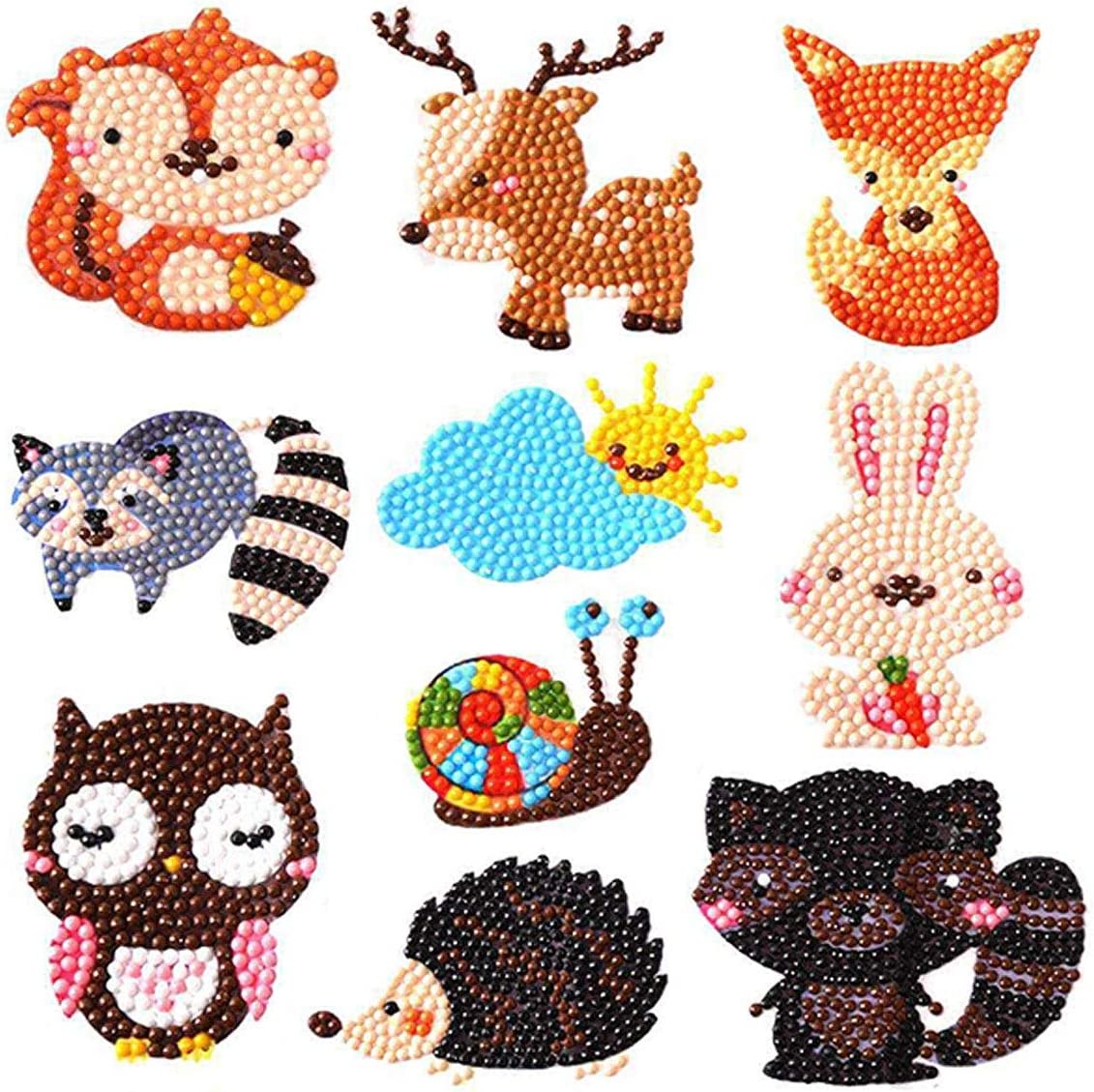 Yegrape Diamond Painting Stickers Kits for Kids 37 Pieces 5D DIY Animal Diamond Art Mosaic Stickers by Numbers Kits Crafts Set for Children Boys and Girls