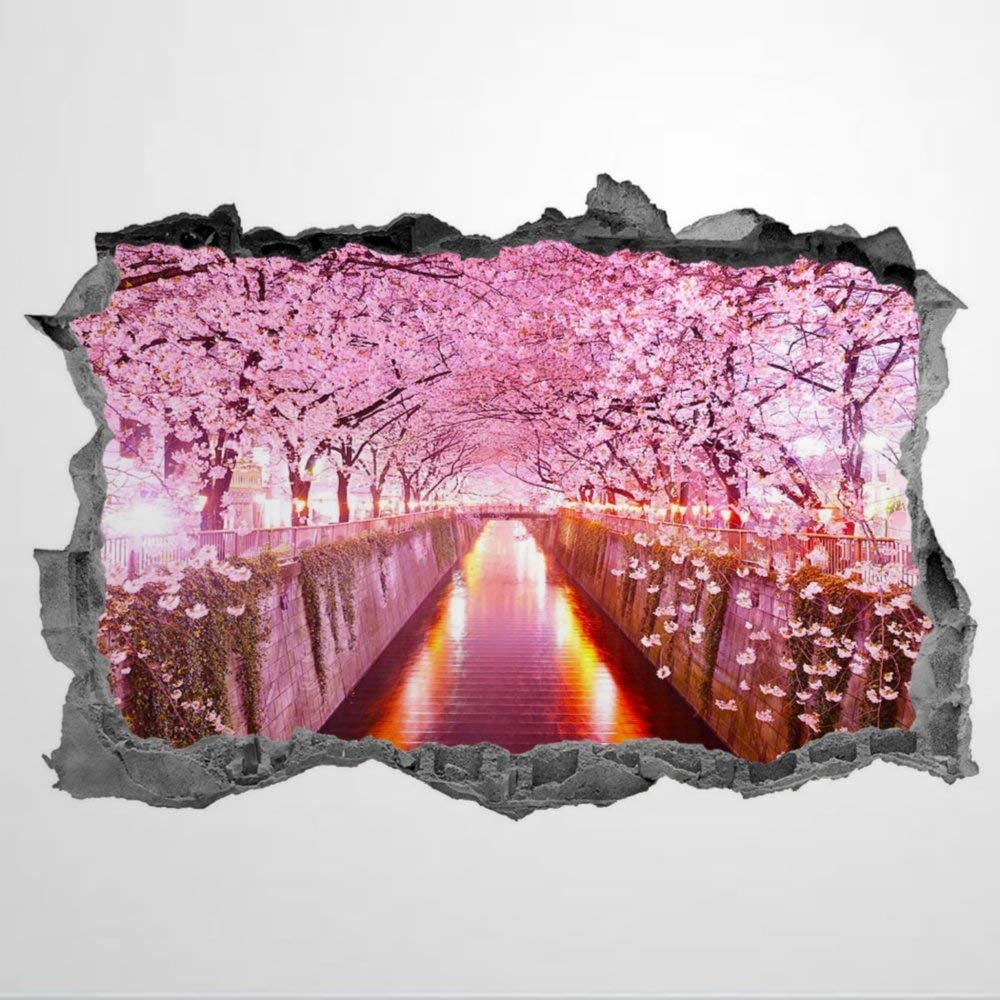 Cherry Blossom Trees 3D Wall Stickers Mural Smashed Wall Art Removable Poster Vinyl decals For Bedroom Living Room Playroom Nursery Office Shop,31inch