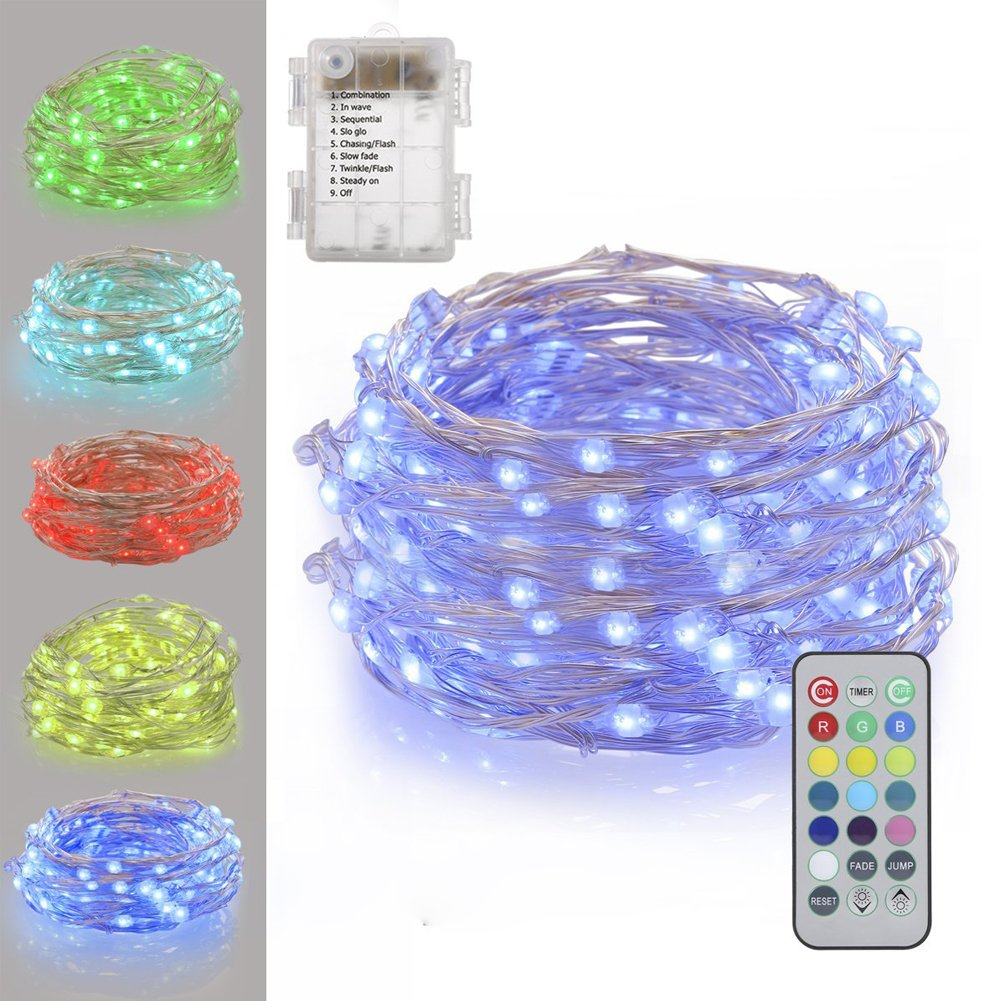 B-right 16.4ft 50 LEDs String Lights, Battery Powered Remote Multi-color Change Silver Wire String Lights for Bedroom Patio Garden Christmas Tree