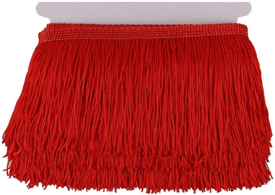 KOLIGHT 10yards Width 6inch Polyester Lace Tassel Fringe Trim Decoration for Latin Dress Stage Clothes Lamp Shade red