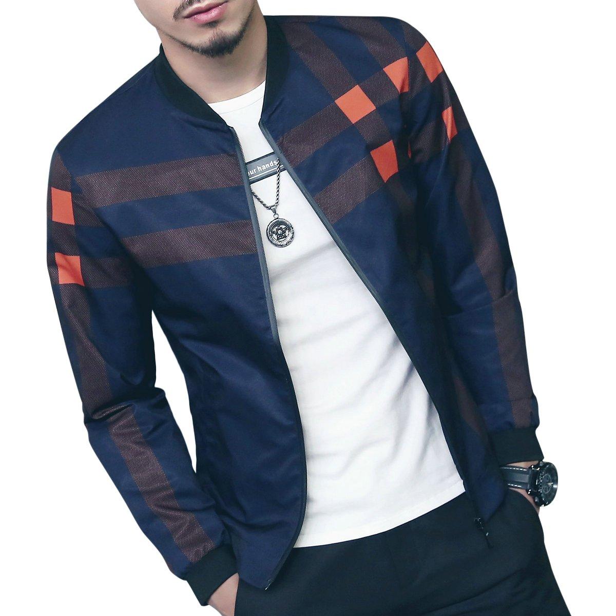 LOGEEYAR Men's Bomber Jacket Casual Slim Fit Printed Outerwear Coat(Blue orange-S) by LOGEEYAR