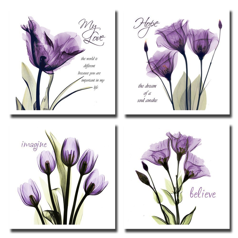 4pcs Flower Wall Art Giclee Prints Love Hope Imagine and Believe Purple Pictures