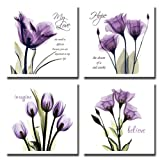 Amazon Price History for:YPY 4pcs Flower Painting Wall Art Giclee Prints Artwork Love Hope Imagine and Believe Purple Pictures Photo on Canvas for Home Walls Decor Ready to Hang (Purple, 12x12in S)