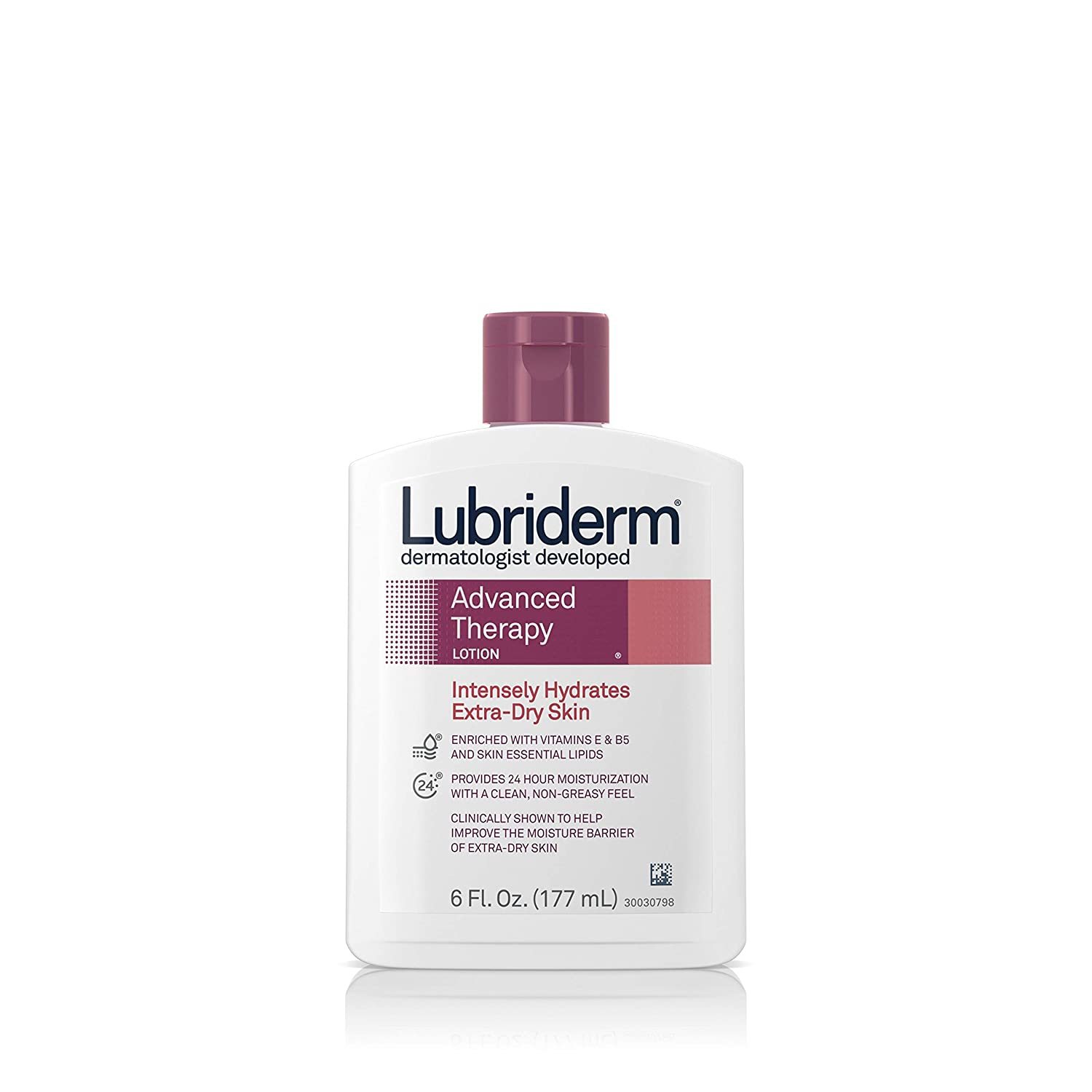 Lubriderm Advanced Therapy Moisturizing Lotion with Vitamins E and B5, Deep Hydration for Extra Dry Skin, Non-Greasy Formula, 6 fl. oz