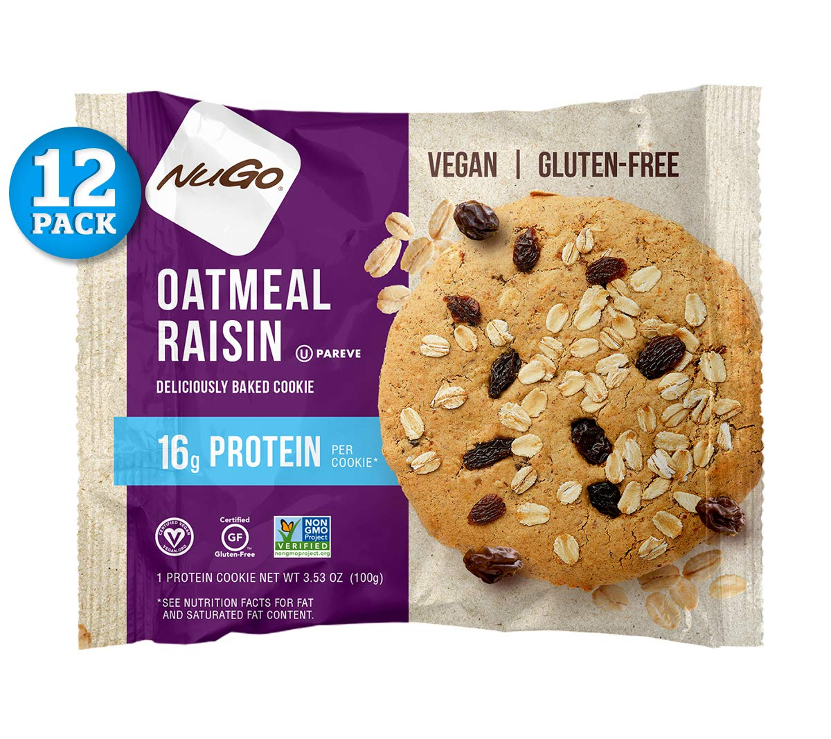 NuGo Protein Cookie, Oatmeal Raisin, 16g Vegan Protein, Gluten Free, Soy Free, 12 Count by NuGo
