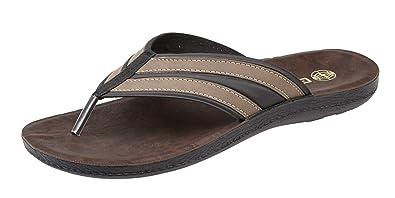 a4ba0452d27 Mens Gezer Leather Look Flip Flops Toe Post Sandals Mules Brown Size 8
