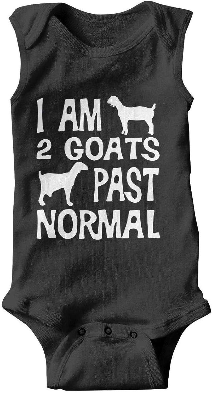 ZEUIAO Unisex Baby Sleeveless Onesies I Am 2 Goats Past Normal Funny Pet Goat Infant Baby Bodysuits