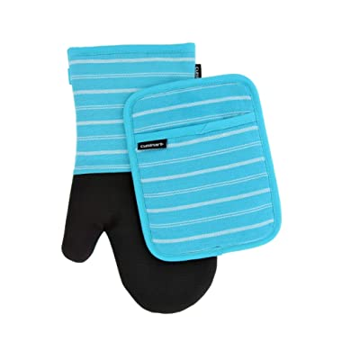 Cuisinart Neoprene Oven Mitts and Potholder Set – Heat Resistant Gloves to Protect Hands and Surfaces with No-Slip Grip, Hanging Loop –Ideal for Handling Hot Cookware Items – Twill Stripe Blue Curacao