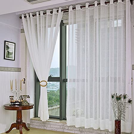 Inner Window Curtain Linen Effect Curtain Drape Net Curtains for ...