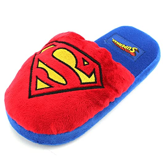 Disney DC Comics Character Womens Juniors Scuff Slippers (L (9/10 M US Womens), Blue Superman)