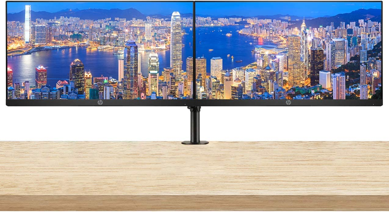 HP P224 21.5 Inch Monitor 2-Pack Bundle with Desk Mount Clamp Dual Monitor Stand, FHD 1080p, LED Backlit, IPS, Anti-Glare, Tilt (HDMI, VGA and DisplayPort) for Home and Office
