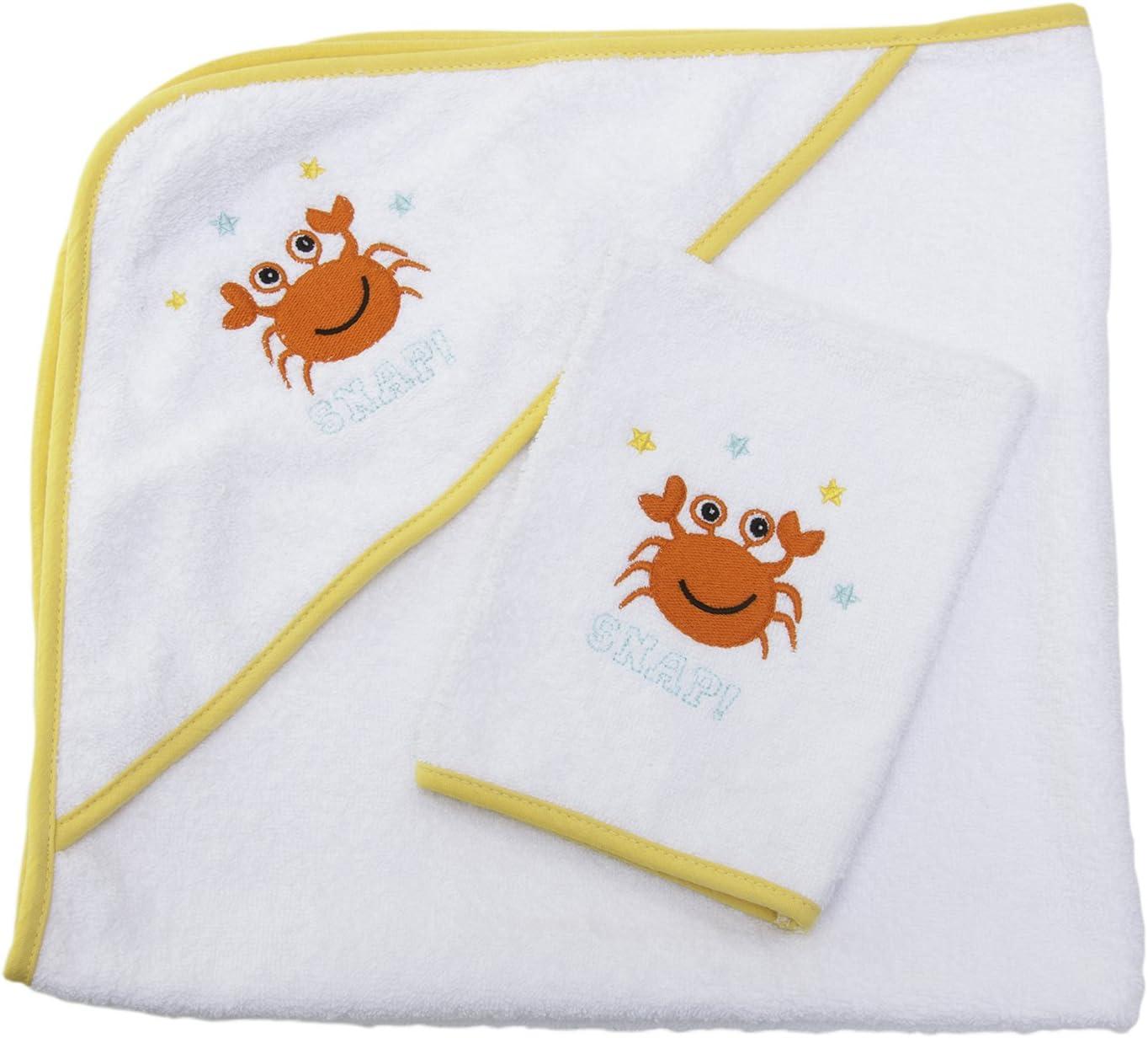Sensio Serviette à capuchon pour bébé - Extra doux et absorbant, 100% coton, Grand 75x75 cm - Tissu blanc avec capuche pour bébés, nouveau-nés, tout-petits, nourrissons - Jaune