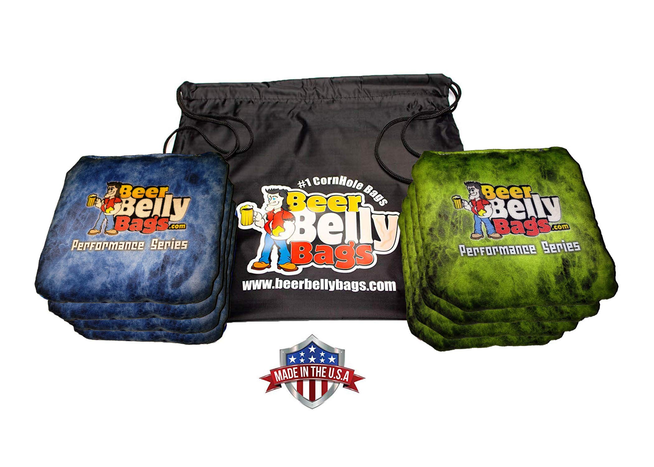 Beer Belly Bags Cornhole - Performance Series 8/pcs ACL Approved Resin Filled - Double Sided - Sticky Side | Slick Side (Lime/Blue Fire) by Beer Belly Bags