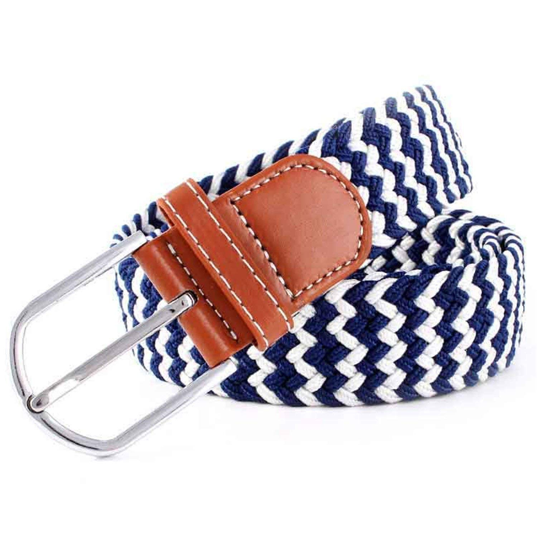 Beautface Makeup Nice Women Solid Canvas Woven Leather Belts Pin Buckle Elastic Waist Belt Jeans,106x3.3cm,11
