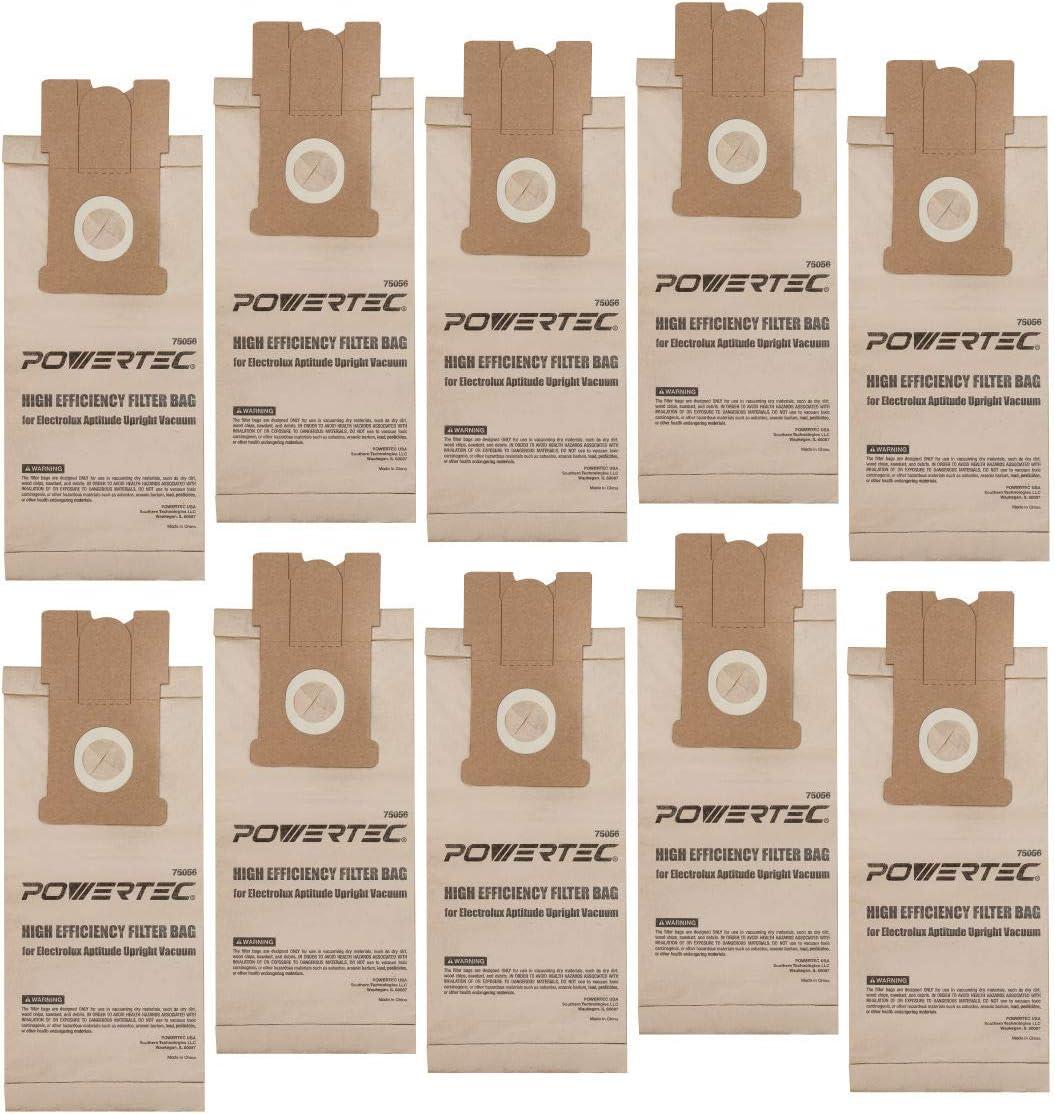 POWERTEC 75056 Electrolux Aptitude Upright Vacuum Bags Replacement for EL204B | Premium Dust Collector Accessories for Electrolux EL5010-10 Pack