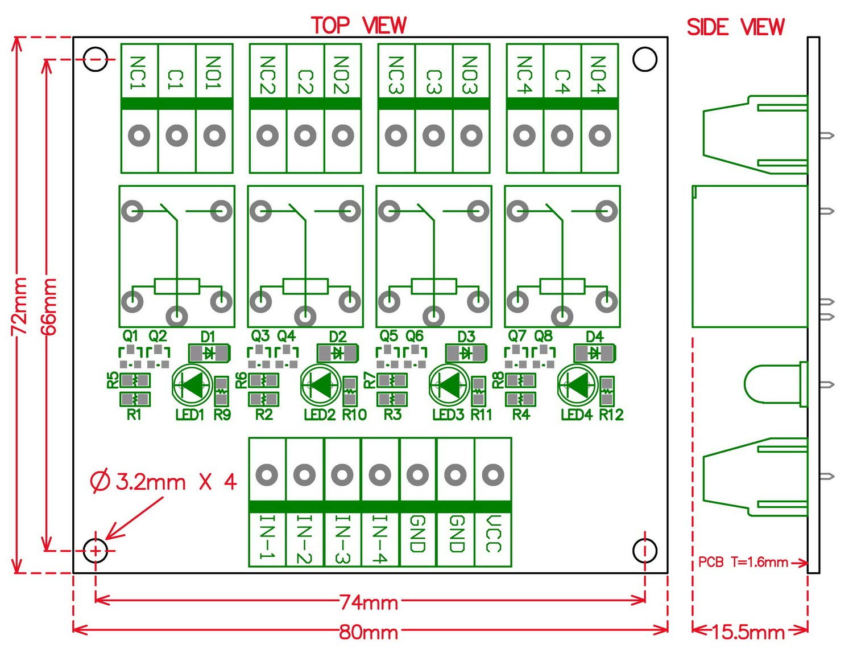 SPDT 10 Amp Alimentation Entr/ée Module de relais 4 DC24 V Version pour pic Arduino////8051 Electronics-Salon quatre