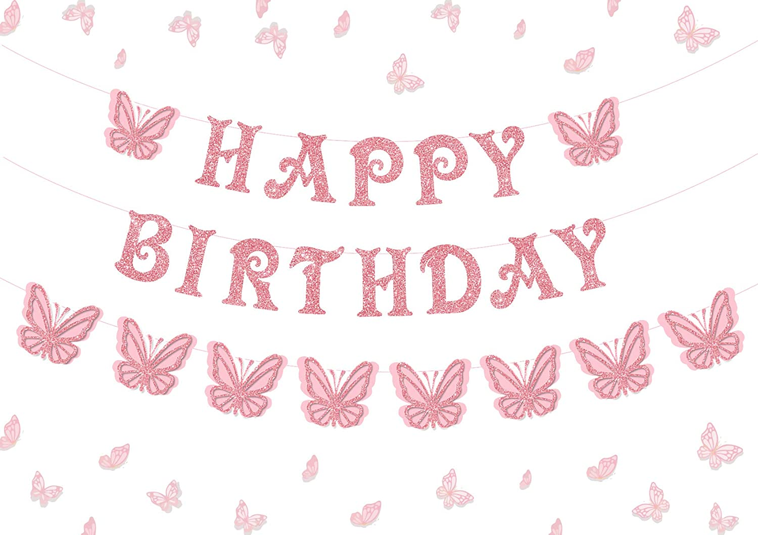 Shades of Bright Orange Butterfly Birthday Banner Hot Pink /& Yellow Personalized