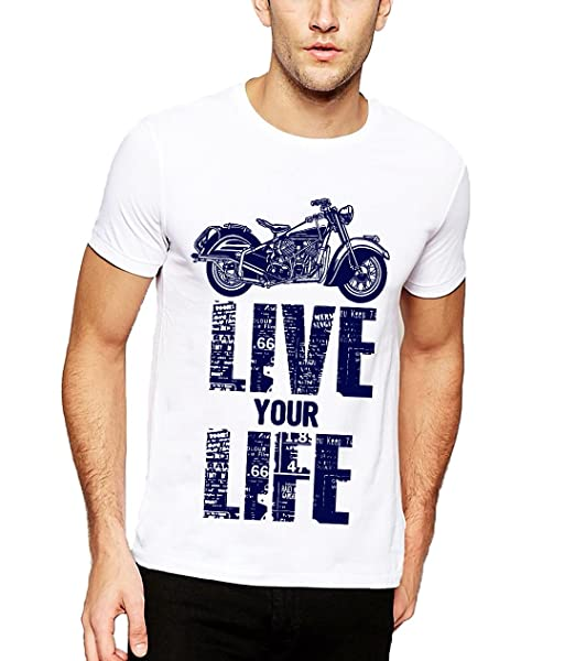 4ba83beb70e ADRO Men s Live Your Life Biker Printed Cotton T-Shirt  Amazon.in ...