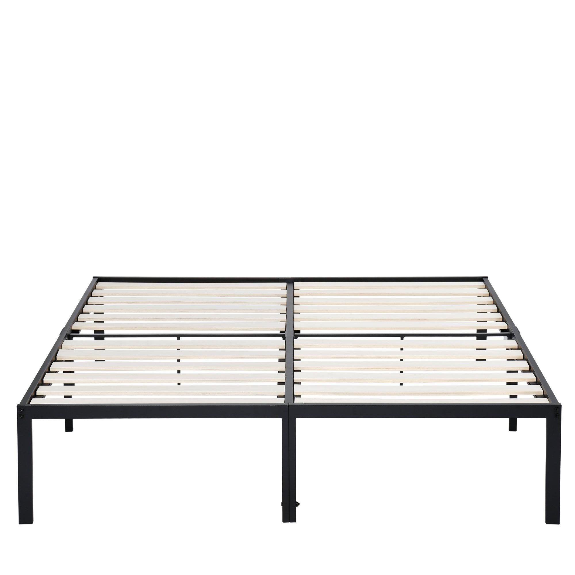 PrimaSleep 14 Inch Platform Steel Bed Frame / Wooden Slat Support King