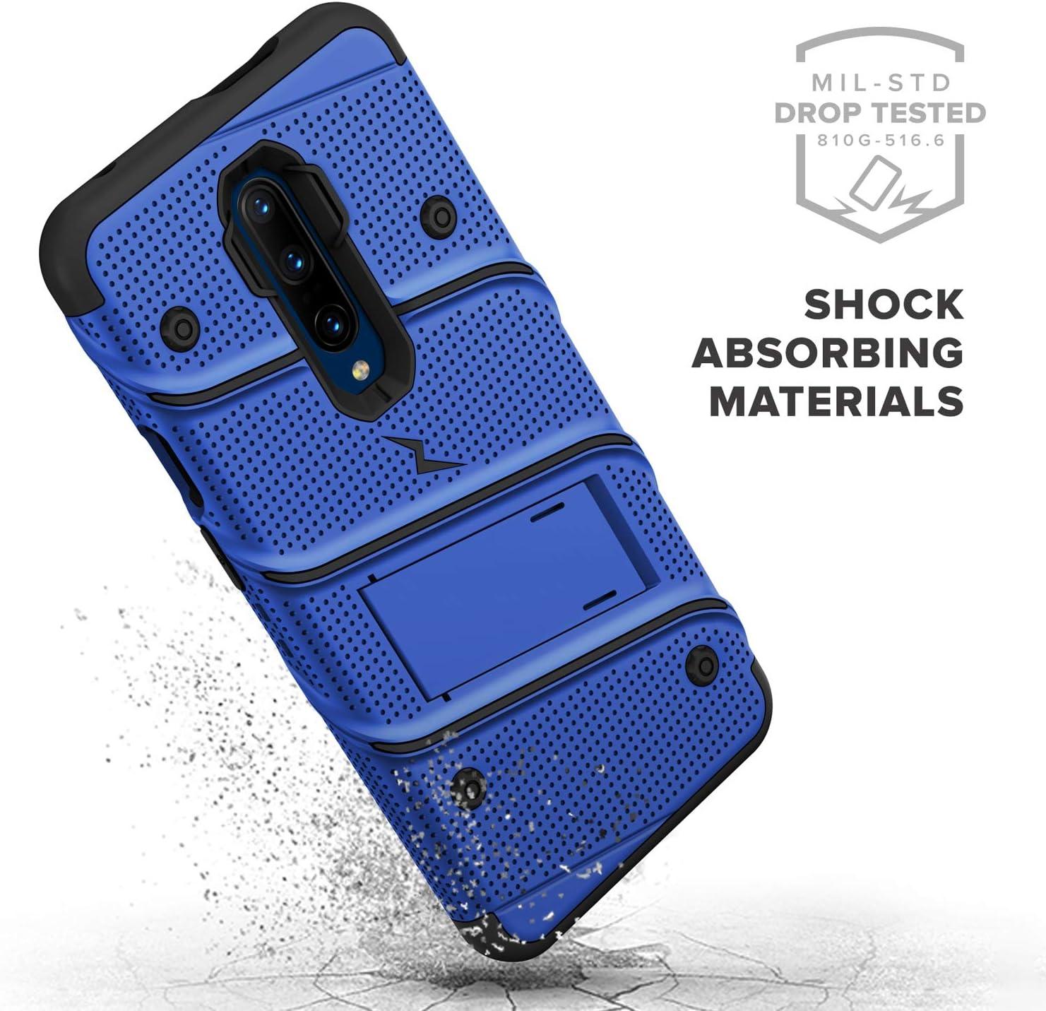 ZIZO Bolt Heavy-Duty OnePlus 7 Pro Case Lanyard Blue Black Military-Grade Drop Protection w//Kickstand Bundle Includes Belt Clip Holster