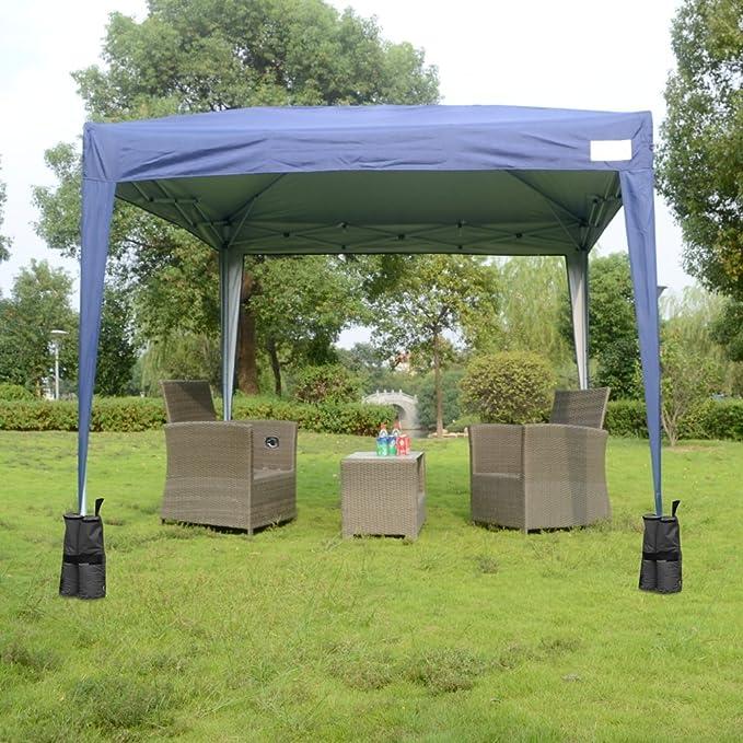 3 m x 3 m Quictent Pop Up Gazebo 4 lados carpa de jardín resistente al agua diseño en color azul con incluye saco de transporte, One compatible con viento Bar y