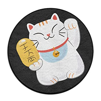 Circle Bathroom Rug Mat Japanese Cat Money Shower Carpet Round Bath Mat