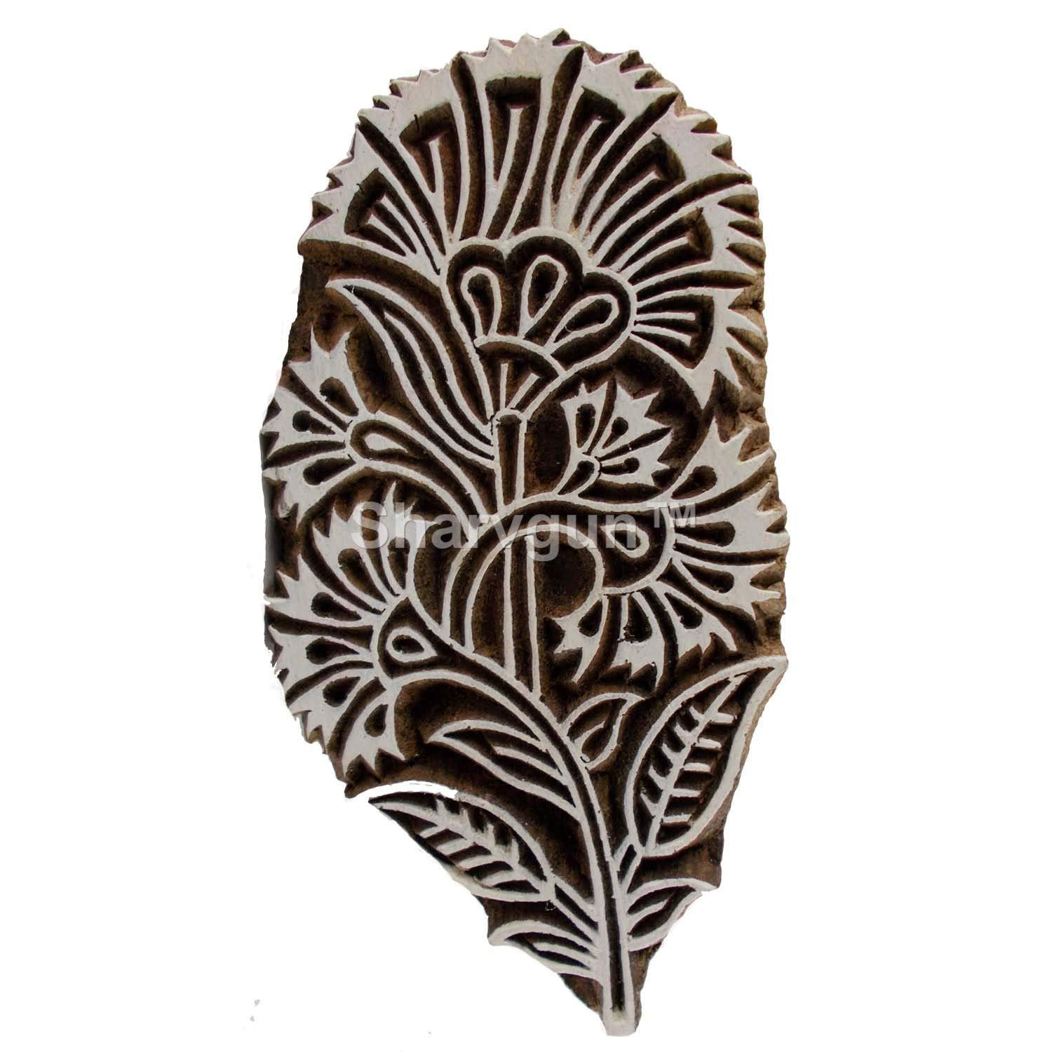 Zig Zag Printing Block Wooden Stamp Block Pottery Crafts /& Textile Hand-Carved