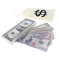 $5580 in Play Money - Jumbo Oversize Bills - Pretend Paper Bills - Realistic Money Stack - That Look Real - 180 Bills, 10.5 x 4.3 Inches