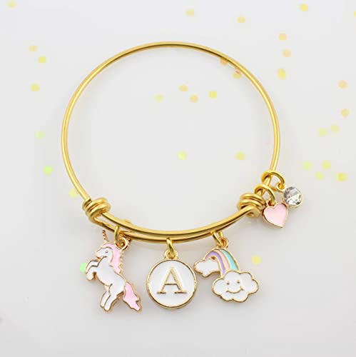 ae2ca52a092b Personalized Little Girls Unicorn Bracelet • Unicorn Bangle Bracelet with  Initial •  Fits Girls 5-10 Years Old • Gold Adjustable Charm Bangle •  Birthday ...