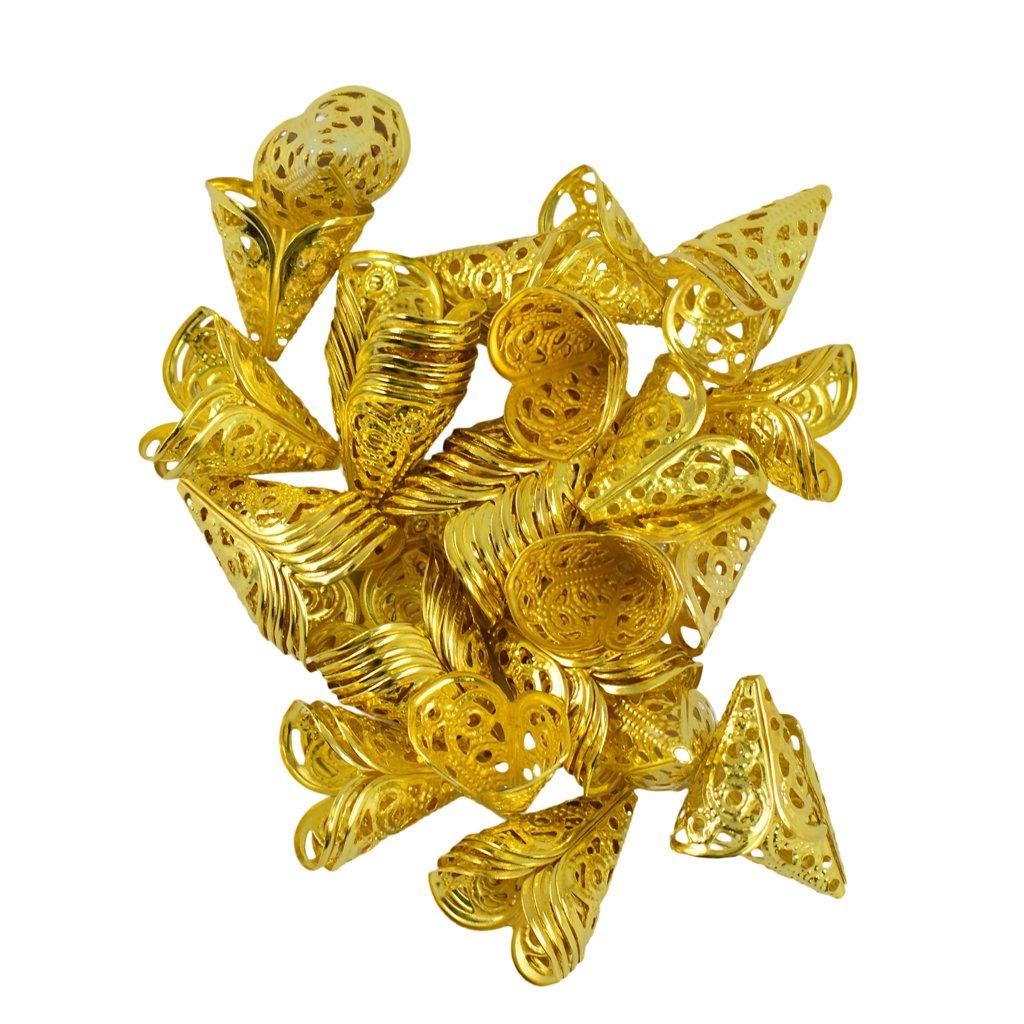 50Pcs 16mm Filigree Hollow Cone Flower Cap for Beads Tassel DIY Makings Multi-color - Gold , 16 x 16 x 11 mm Generic STK0156006603