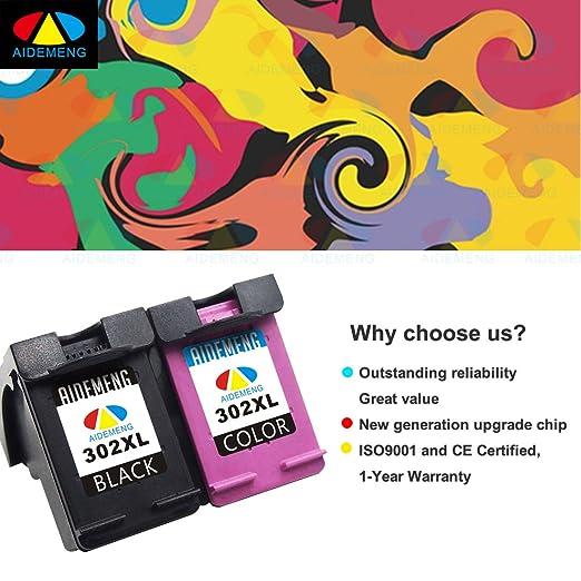 AideMeng Negro Cartuchos Reemplazo para HP 302 XL 302XL (1 Negro, 1 tricolor) Compatible cartuchos de tinta para impresora HP DeskJet 1110 1115 2130 ...
