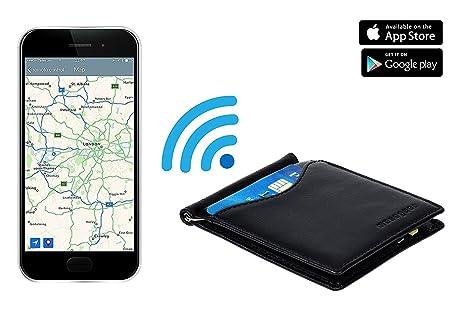 musegear® Smart Wallet: Cartera de Hombre ultradelgada con Tarjetero. Incluye minilocalizador (Blanco