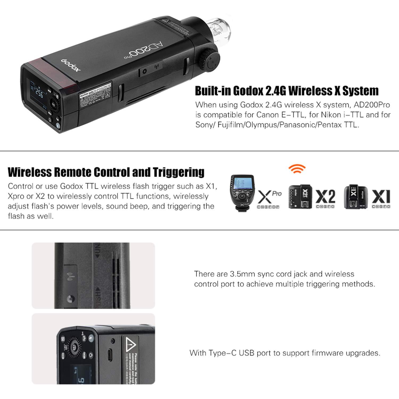 Godox AD200Pro 200Ws TTL 2.4G HSS 1/8000s Pocket Flash Speedlite ...