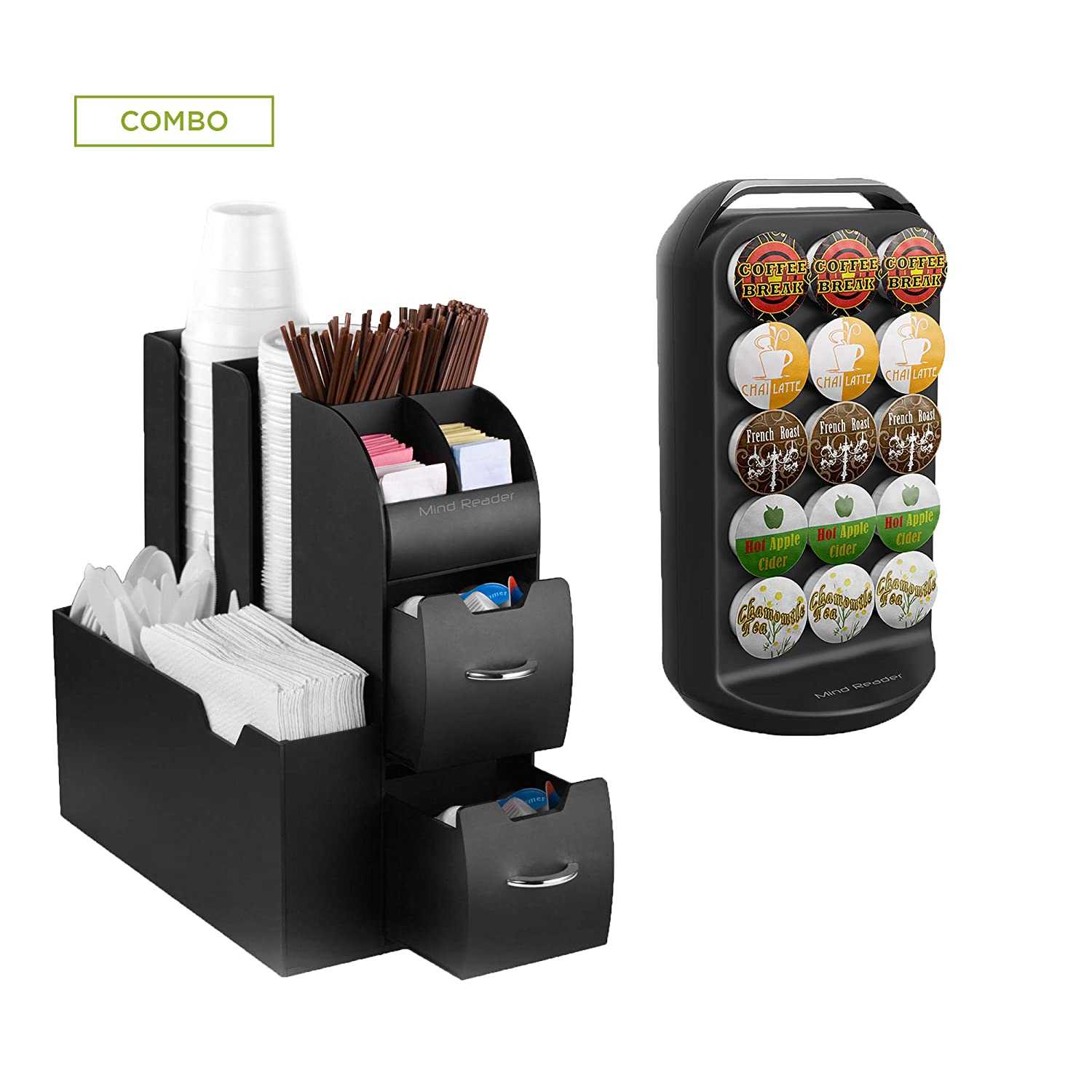 Mind Reader CRSCAD-BLK K-Cup Carousel and Coffee Condiment Caddy Organizer, Coffee Pod Holder, Capacity 30 K-Cups, Black