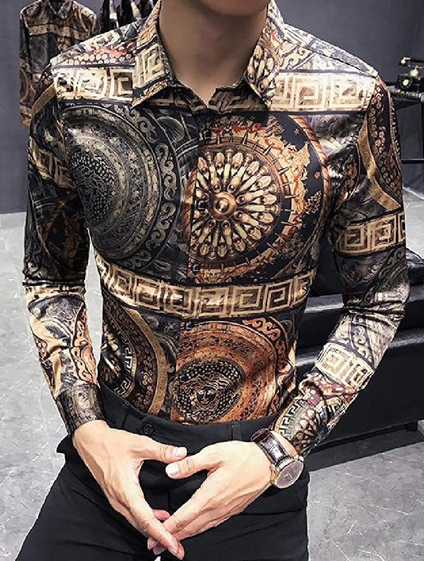 Lutratocro Mens Print Casual Long Sleeve Button Front Slim Fit Club Shirts