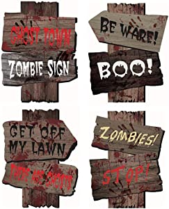 Supoice Halloween Decorations Yard Beware Signs with Stakes for Halloween Lawn Decorations Scary Zombie Vampire Graves Party Supplies
